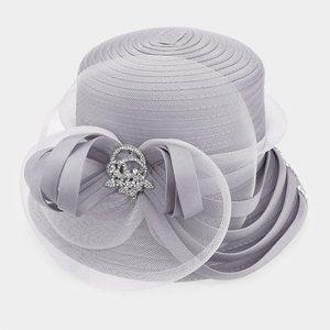 Rhinestone Detail Floral Mesh Medium Dressy Hat